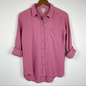 NWT C&C California Pink Gray Flannel Button Down